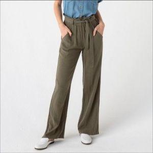 THREAD & SUPPLY Olive Wide Leg Paper Bag Pants